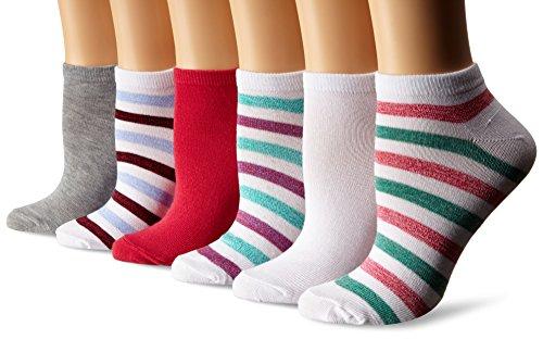 [Steve Madden Women's 6 Pack Fashion Marl Stripe Iathletic Low Cut, White, 9-11] (Steve Stripe)