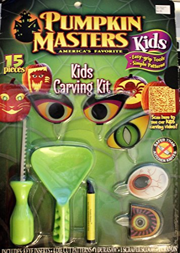 Pumpkin Masters Kids, America's Favorite Pumpkin Carving Kit, Simple Patterns, 15 pieces, 8 eyes -