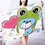 PRUNUS Ultra Soft Towel Cartoon Puppy in A Frog Hat with Balloon On Heart Background Love Animal Resort,Hotels/Motels,Gym use