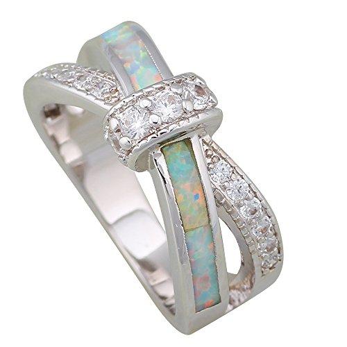 - Fashion Opal Wedding Rings Fina Jewelry Women's Rings White Cubic Zirconia Fire Opal 925 Sterling Silver Size 5 6 7 8 9 10 R249 (9)