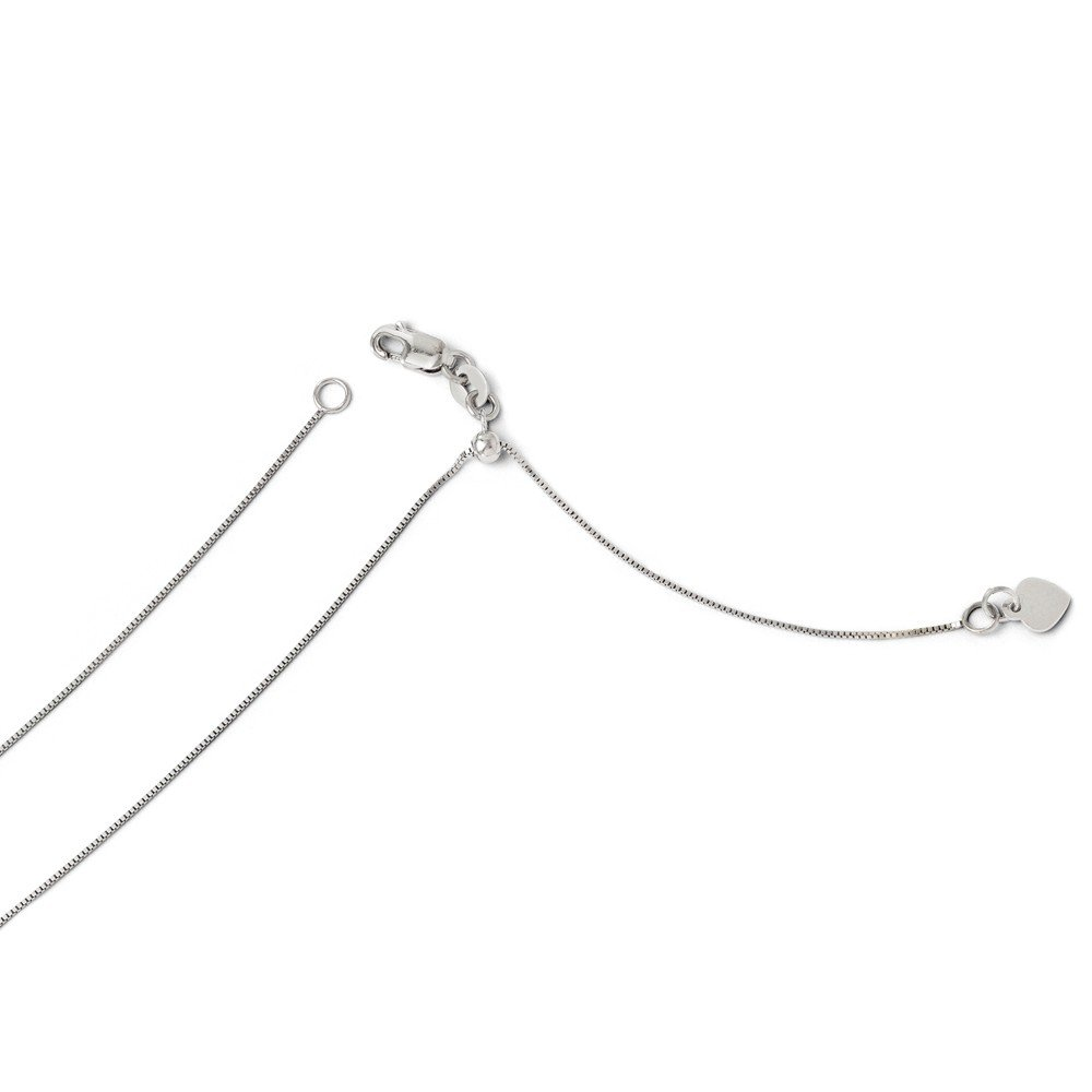 ICE CARATS 14k White Gold Adjustable .55mm Baby Link Box Chain Necklace 22 Inch Fine Jewelry Gift Set For Women Heart by ICE CARATS (Image #3)