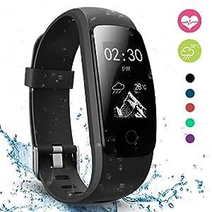 Fitness Tracker, moreFit Slim Touch HR Heart Rate Waterproof Activity Tracker Wireless Bluetooth Smart Bracelet Watch Sleep Monitor Pedometer, Black