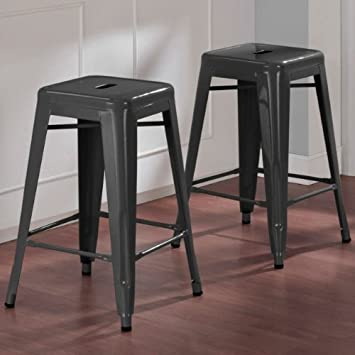 Modern Square Tabouret 24-inch Charcoal Grey Metal Counter Stools Set of 2 Industrial Style