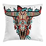 Ambesonne Western Throw Pillow Cushion Cover, Buffalo Sugar Mexican Skull Colorful Ornate Design Horned Animal Trophy, Decorative Square Accent Pillow Case, 20 X 20 Inches, Turquoise Red Taupe