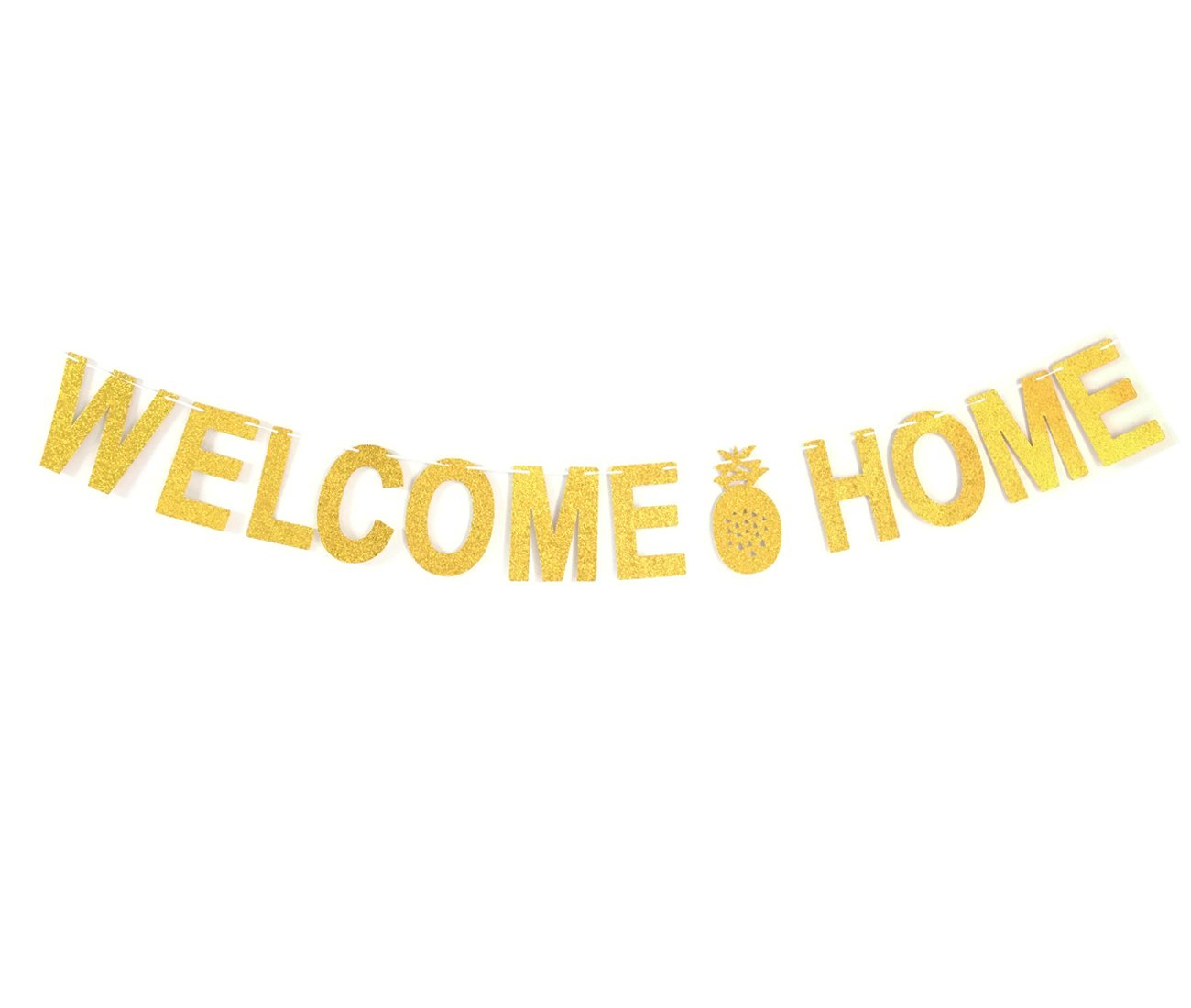 GZFY Welcome Home Banner Sign Gold Glitter Banner For Party Decoration Pineapple Banner
