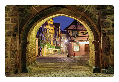 Lunarable Cityscape Pet Mat for Food and Water, Riquewihr Alsace View France Through City Wall Gate at Night Historical Town Picture, Rectangle Non-Slip Rubber Mat for Dogs and Cats, Brown
