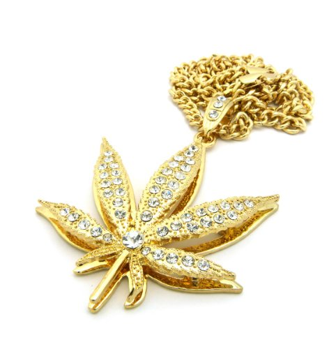 """New Iced Out MARIJUANA Pendant &6mm/36"""" Cuban Link Chain Hip Hop Necklace CP132G"""