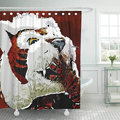 - Ladble Decor Shower Curtain Set with Hooks Who Dey Official Mascot Cincinnati Bengals Grunge Style Bengal Tiger Orange Background Paint Art 66 X 72 Inches Polyester Waterproof Bathroom
