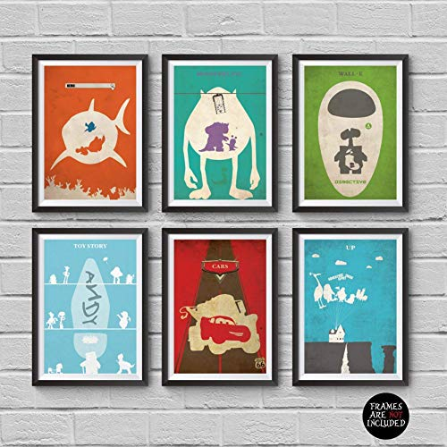 Disney and Pixar Animations Minimalist Poster Set 6 Alternative Movie Print Finding Nemo Monsters Inc Wall E Toy Story 123 Cars Up Home Decor Illustration Cinema Artwork Wall Art Hanging Cool Gift