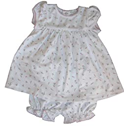 Kissy Kissy Baby Girls Garden Roses Print Dress With Diaper Cover- 0-3 Months