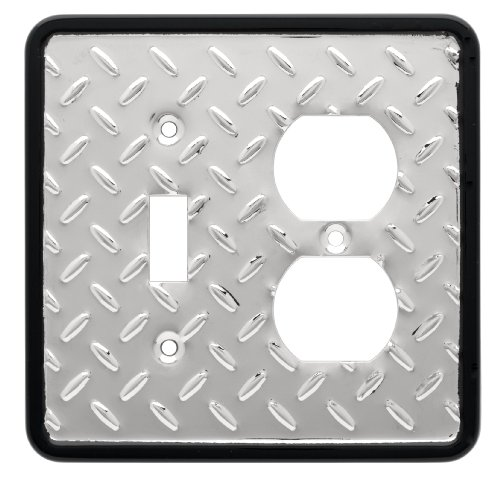 Brainerd 126486 Diamond Plate Collection Single Switch/Duplex, Polished Chrome and Black ()