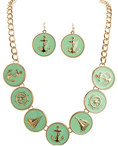 Mint Nautical Anchor Helm Charms Goldtone Necklace and