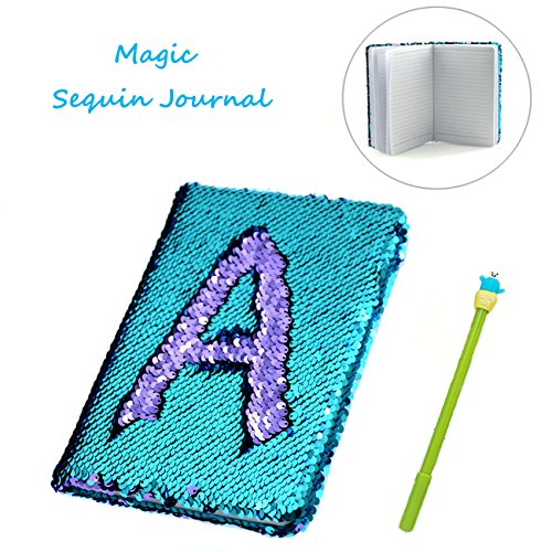 Sequin Notebook - 2 Color Mermaid Reversible Sequin Journal - Magic Travel Journal Notebook Gift for Adults and Kids (Purple-Blue)