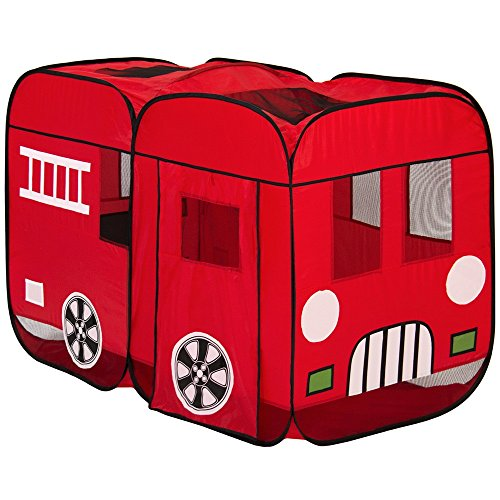 Play House Pop Up Fire Truck PlayTent Indoor Outdoor W/ith Carrying Case (Sand Evanston)