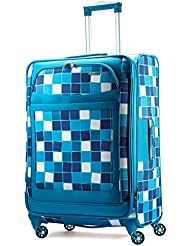 American Tourister Ilite Max Softside Spinner 29, Light Blue Checks