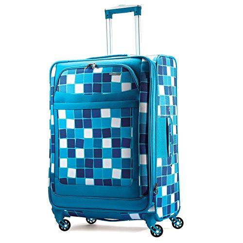 American Tourister Ilite Max Softside Spinner 29, Light Blue Checks