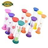 kids hour glass timer - Sand Timer, Colorful Set of 2 Minutes Hour Glasses Hourglass Sand Colored Sand Timer for Kids & Adults,12 PCS