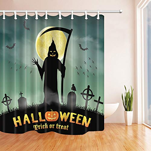 Halloween Decorations Grim Reaper in Night Graveyard Shower Curtains for Bath Polyester Fabric Waterproof Bath Shower Curtain 70.8 X 70.8 inches ()