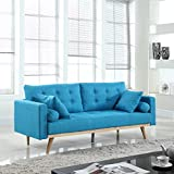 Mid Century Modern Tufted Linen Fabric Sofa (Light Blue)