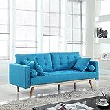 Mid-Century Modern Tufted Linen Fabric Sofa (Light Blue)