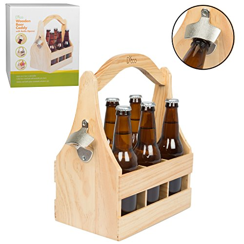 Wooden Beer Caddy Carrier w/ Bottle Opener and Removable Inserts - Bottle Caddy