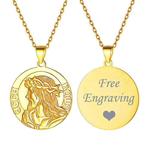 (Personalized Necklace 18K Gold Plated Custom Name Engravable Necklace Jesus Pendant Necklace Antiqued Round Disc Coin Necklace Religious Christian Medal Medallion Jewelry for Women Men)