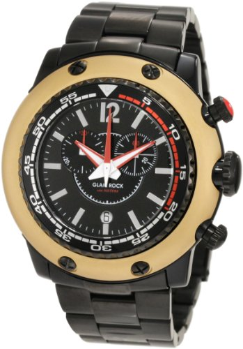 Glam Rock Men's GW20142 Miami Beach Chronograph Black Dial Black Ion-Plated Stainless Steel Watch