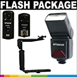 Polaroid Premium Package Deluxe: Polaroid PL-126PZ Studio Series Digital TTL Shoe Mount Bounce Flash + Polaroid Flip Mount Flash Bracket + Polaroid Tri-Mode Wireless Camera & Flash Remote (Wireless Flash Remote, Wireless Shutter Release, Wireless Studio S
