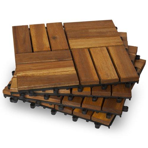 Garden Winds DT02-YW Twelve Slat Deck Tiles, Classic, 10 Count 10 Deck Tiles