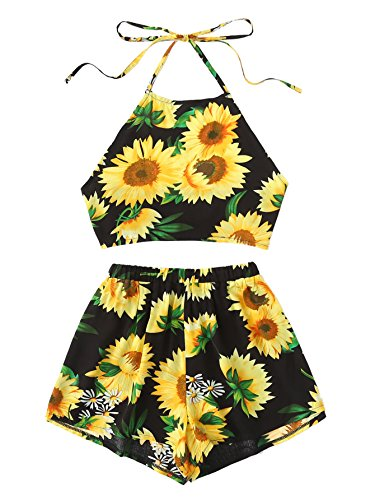 69cb2691f373 SheIn Women's Sunflower Print 2 Pieces Halter Backless Top With Shorts  Outfits