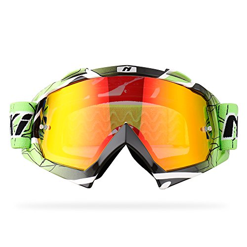 NENKI ATV Gogggles,Motocross Goggles and MX Dirtbike Motorcycle Goggles NK-1019 for Men Women with Anti Fog and Anti UV Mirrored Lens