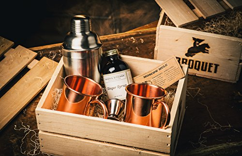 Moscow Mule Cocktail Kit Gift Set (Copper Mug Set 100% Pure Solid Copper) - Moscow Mule Bar Kit - Comes in A Wooden Gift Crate - Great Gift For Men - Cocktail Kit For Men by Broquet (Image #2)