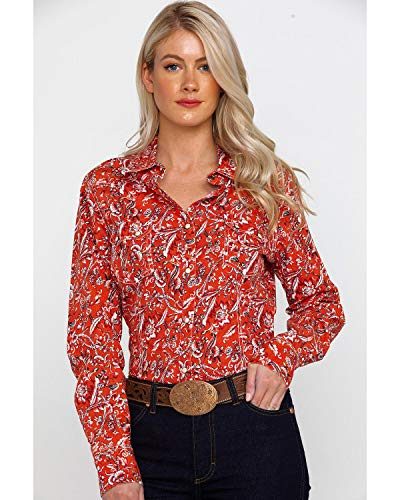 Rock & Roll Cowgirl Women's and Floral Print Long Sleeve Western Shirt Red Large