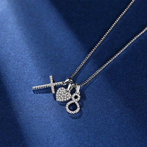 Usview Heart Infinity Endless Love Cross CZ Pendant Necklace, Jewelry Gifts for Her, Girl, Women Friendship, 18'' (set) by Usview (Image #1)