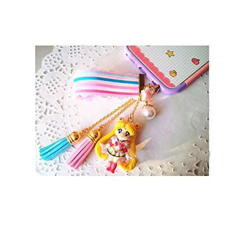 Top Home Japanese Anime Handmade Sailor Moon Dust Plug Phone Charm Figure Cute Cosplay Accessories New Collection (Pink Sailor Moon)