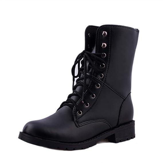 Botas de los Hombres de Las Mujeres, Zapatos Planos Negros del Combate del