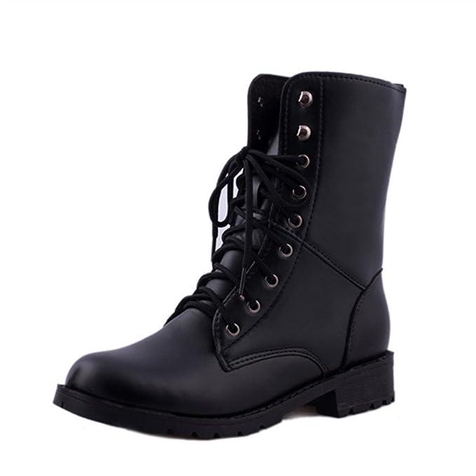 ❤ Botas de los Hombres de Las Mujeres, Zapatos Planos Negros del Combate del ejército Militar con Cordones Planos del cordón Botas de la Vendimia ...
