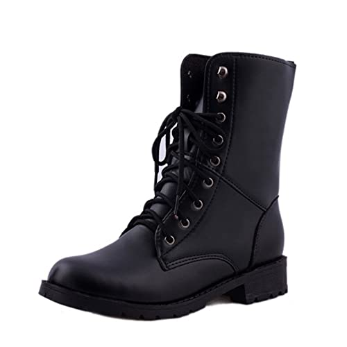 07e5cea0d817 HARRYSTORE Footwear Ladies Ankle Retro Combat Boot Women s Funky Leather  Vintage Gothic Ankle Shoes Classic Lace Up Military Army Biker Boots Size   ...