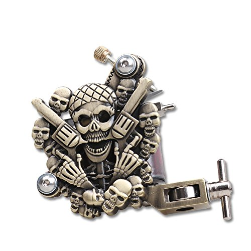 Tattoo Skull Gun Liner Shader Machine 10 Wrap Coil Dual Motor Rotary Brass Color Supplies