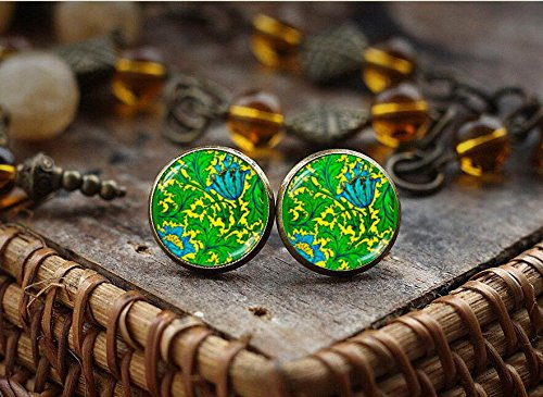 - Yellow Green Floral stud earrings, Victorian Flower art stud earrings, William Morris illustration jewelry, Morris art photo print earrings