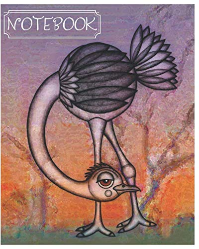 (Notebook: Cute Ostrich Composition Notebook/Journal for Adult/Children to Writing (8x10 Inch.) College Ruled Lined Paper 120 Blank Pages (PURPLE&ORANGE&GREEN&WHITE Pattern))