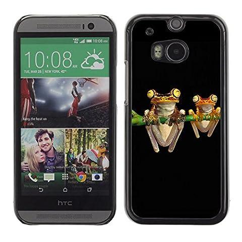 KOKO CASE / HTC One M8 / frogs art night black drawing cartoon green / Slim Black Plastic Case Cover Shell (Htc One M8 Case Frog)