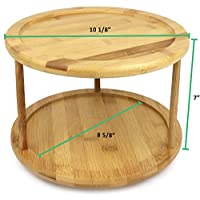 Premium Bamboo 2 Tier Lazy Susan - dimensions