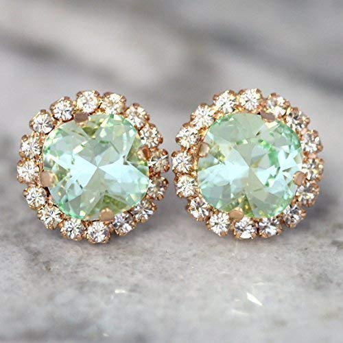 (Bridal Swarovski Earrings,Green Crystal and Rose Gold Halo Studs, Mint Bridesmaids Gifts, Handmade Wedding and Party)