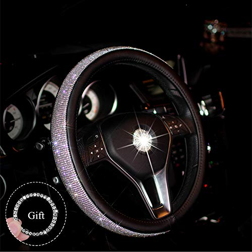 bmlei Car Crystal Bling Steering Wheel Cover with Anti-Slip Rhinestones PU Leather Backing- Bling Shiny Diamond Wheel Protector