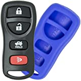 2002-2006 Nissan Altima and Maxima Keyless Entry Remote Key Fob and Silicone Cover Protective Case - BLUE