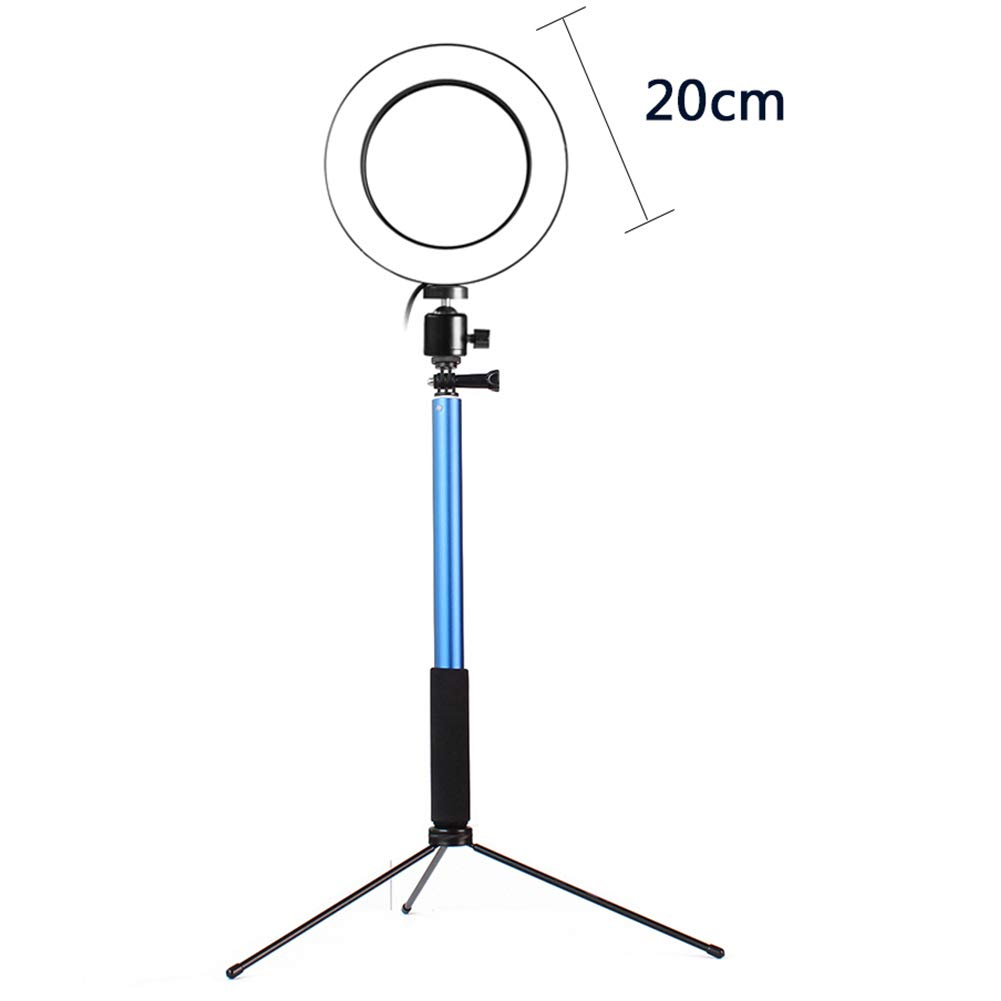 DSstyles 3 in 1 LED Ring Light Photo Studio Light Photography Dimmable Video for Smartphone with Tripod Selfie Stick & Phone Holder Blue 20CM