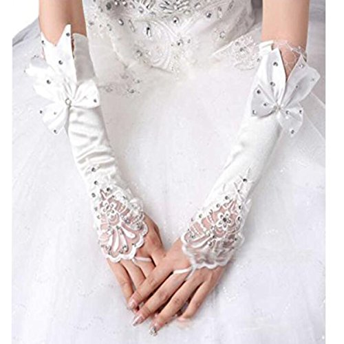 DiMei Lace Bridal Gloves Satin Glove for Wedding Prom Fingerless Rhinestones
