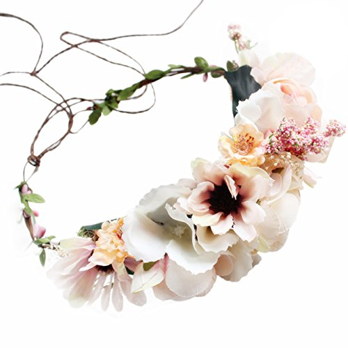Dress Floral Candies (Handmade Boho Flower Headband Hair Wreath Halo Floral Garland Crown Headpiece with Ribbon Festival Wedding Party (T-Candy Pink))