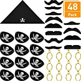 Blulu Pirate Accessory Set for Halloween and Pirate Party, Contains Black Felt Pirate Eye Patches, Pirate Gold Earrings, Pirate Headscarves, Pirate Fake Moustache